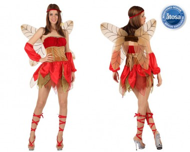 Herbstfee - Kleid+Flügel+Zubehör - Rot-Braun - Kostüm - 4 Teile - Atosa