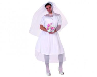Herren-Braut - Kleid+Schleier - Weiß - Kostüm - 2 Teile - Atosa