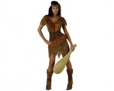 Höhlenfrau - Kleid+Stirnband - Braun - Kostüm - 2 Teile - Atosa