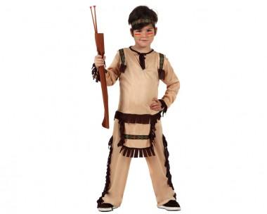Indianer - Oberteil+Hose+Stirnband - Braun - Kinder Kostüm - 3 Teile - Atosa
