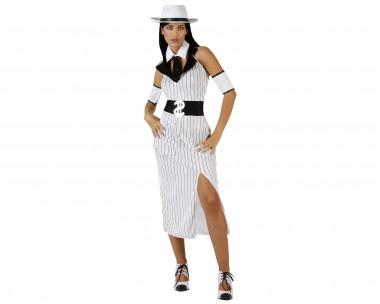 Mafiosa - Kleid+Armreifen+Zubehör - Schwarz-Weiß - Kostüm - 4 Teile - Atosa