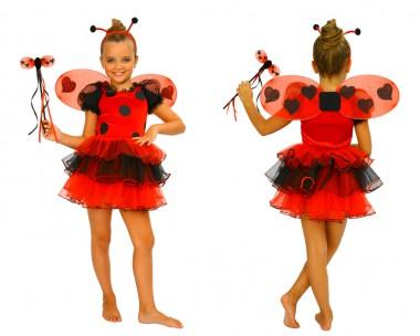 Marienkäfer - Kleid+Flügel+Fühler - Rot-Schwarz - Kinder Kostüm - 3 Teile - Atosa