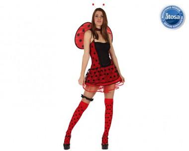 Marienkäfer - Kleid+Flügel+Fühler - Rot-Schwarz - Kostüm - 3 Teile - Atosa
