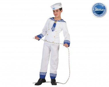 Matrose - Oberteil+Hose+Mütze - Weiß-Blau - Kinder Kostüm - 3 Teile - Atosa