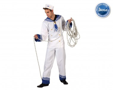 Matrose - Oberteil+Hose+Schiffchen - Blau-Weiß - Kostüm - 3 Teile - Atosa