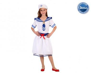 Matrosin - Kleid+Mütze - Weiß-Blau - Kinder Kostüm - 2 Teile - Atosa