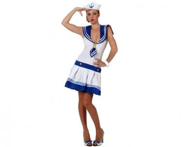 Matrosin - Kleid+Schiffchen - Blau-Weiß - Kostüm - 2 Teile - Atosa