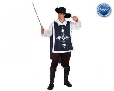 Musketier - Wams+Hemd+Zubehör - Blau, Rot - Kostüm - 4 Teile - Atosa