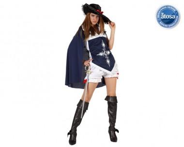 Musketierfrau - Wams+Hemd+Zubehör - Blau, Rot - Kostüm - 4 Teile - Atosa