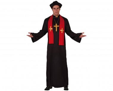 Pfarrer - Robe+Schal+Zubehör - Schwarz-Rot - Kostüm - 4 Teile - Atosa
