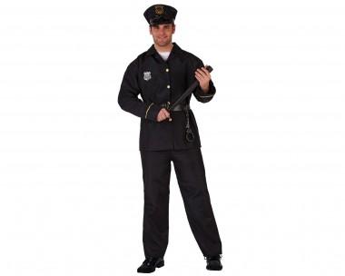Polizist - Jacke+Hose+Mütze - Schwarz - Kostüm - 3 Teile - Atosa