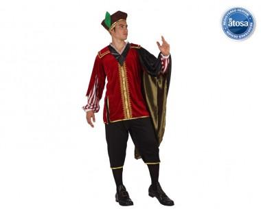 Renaissance Adliger - Oberteil+Hose+Kopfbedeckung - Rot-Schwarz-Gold - Kostüm - 3 Teile - Atosa
