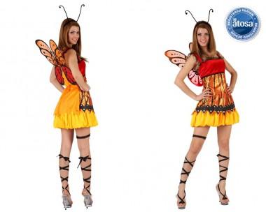 Schmetterling - Kleid+Flügel+Fühler - Rot-Gelb - Kostüm - 3 Teile - Atosa