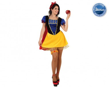 Schneewittchen - Kleid+Haarband+Strumpfand - Gelb-Blau-Rot - Kostüm - 3 Teile - Atosa