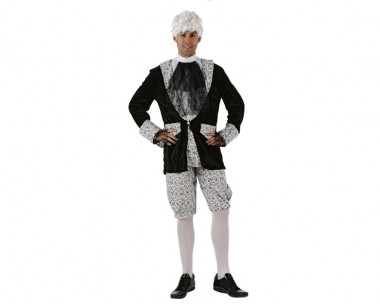 Schwarzer Graf - Jacke+Hose+Krawatte - Schwarz-Weiß - Kostüm - 3 Teile - Atosa