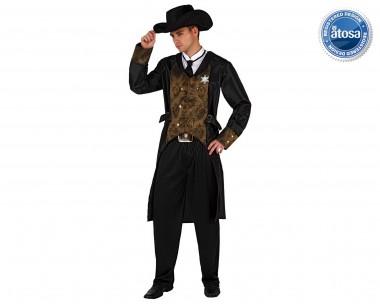 Sheriff - Mantel+Hose+Zubehör - Braun-Schwarz - Kostüm - 5 Teile - Atosa