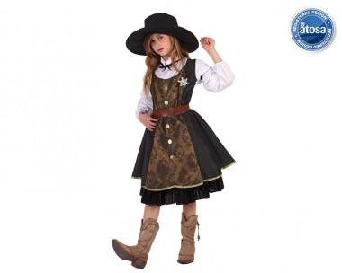 Sheriff-Mädchen - Kleid+Hut - Braun-Schwarz-Weiß - Kinder Kostüm - 3 Teile - Atosa