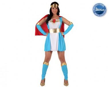 Superheldin blau - Kleid+Armstulpen+Zubehör - Blau-Weiß-Rot - Kostüm - 4 Teile - Atosa