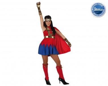 Superheldin rot - Kleid+Armstulpen+Zubehör - Rot-Blau-Gold - Kostüm - 4 Teile - Atosa