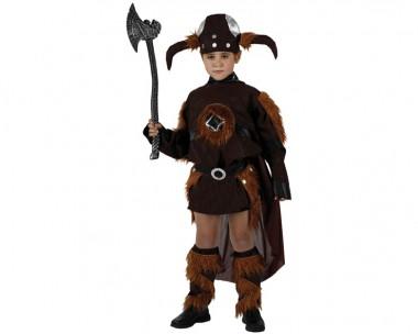 Wikinger - Robe+Beinstulpen+Helm - Braun - Kinder Kostüm - 3 Teile - Atosa