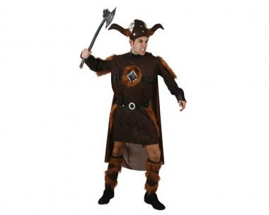 Wikinger - Robe+Umhang+Zubehör - Braun-Schwarz - Kostüm - 4 Teile - Atosa