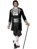 Barock-Herr - Jacke+Hose+Zubehör - silber/scfhwarz - Kostüm - 4 Teile - Smiffy's