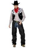 Cowboy - lederne Überhosen+Weste+Gürtel+Tuch- schwarz - Kostüm - 4 Teile - Smiffy's