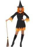 Hexe - Kleid+Hut+Halsband - schwarz/orange - Kostüm - 3 Teile - Smiffy's